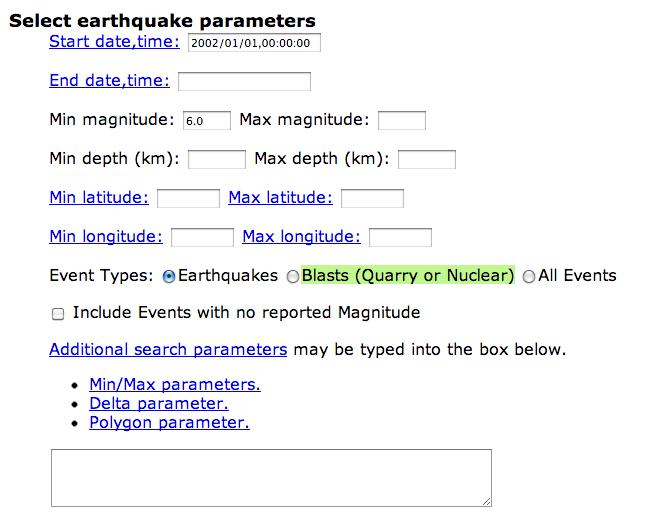 Opciones del Terremoto