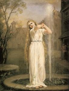 Representación pictórica de la ninfa de la mitología germánica Ondina, obra de John William Waterhouse.