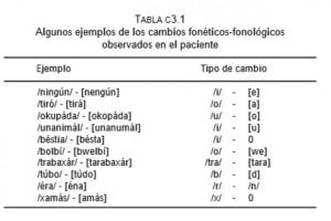 Ejemplos de alteraciones en el lenguaje en pacientes que sufrieron accidentes cerebrovasculares que afectaron a estructuras implicadas en el lenguaje. El estudio se llevó a cabo con sujetos gallegos.