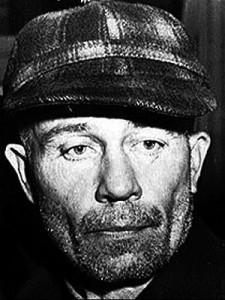 Fotografía tomada al conocido asesino de Wisconsin Edward Theodore Gein.