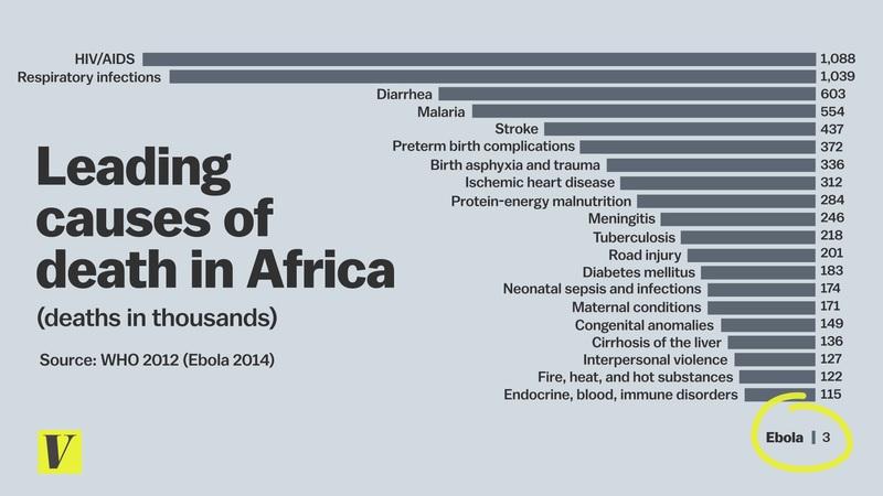 Muertes en África por el brote de ébola frente a otras enfermedades.
