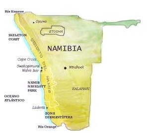 Situación del Parque Nacional Etosha en Namibia.