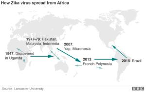 Propagación del virus Zika a lo largo del planeta, atendiendo a su cronología en base a la aparición o descripción de nuevos casos médicos referidos a la cita enfermedad vírica