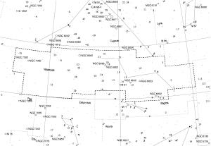 Representación de la Constelación Vulpecula, lugar desde donde fueron emitidas las ondas de radio correspondientes al púlsar PSR B1919+21.