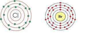 """Imagen comparativa de los átomos de Cloro y Bromo. Ambos elementos, halógenos, tienen 7 electrones libres en su capa de valencia y ansían completar el octete que les confiera esa estabilidad. En esa búsqueda del """"electrón que les falta"""", se vuelven tremendamente reactivos, de ahí que se investigase con ellos como agentes químicos tóxicos, pues reaccionarían con el individuo que los inhalase abrasando sus mucosas y provocando la muerte por asfixia del individuo en pocos minutos."""