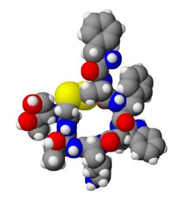Estructura 3D del octreótido, obtenida por Chemsketch 8.0. El octreótido es usado como un fármaco análogo de la somatostatina, con lo que se usa para combatir la acromegalia a inhibir la liberación de GH.